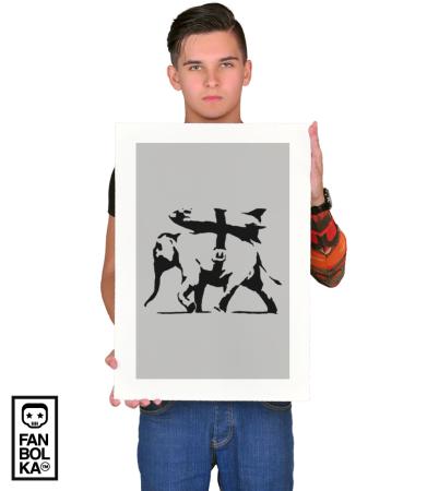 Постер Бэнкси Тяжело-вооруженный слон   Banksy heavy weapons elephant