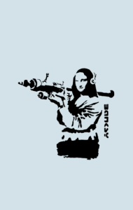 Постер Бэнкси. Мона Лиза с гранатометом | Banksy. Mona Lisa rocket