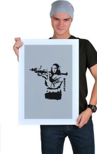 Постер Бэнкси. Мона Лиза с гранатометом | Banksy. Mona Lisa rocket