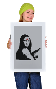 Постер Бэнкси. Мона Лиза с автоматом| Banksy. Mona Lisa with a gun