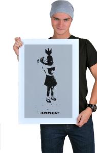 Постер Бэнкси. Девочка с бомбой | Banksy. Girl with a bomb