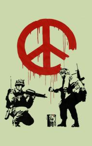 Постер Бэнкси. Солдаты и Знак Мира | Banksy. Soldiers painting Peace sign