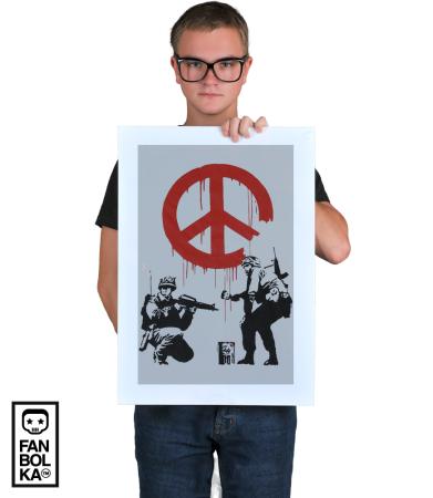Постер Бэнкси. Солдаты и Знак Мира | Banksy. Soldiers painting Peace sign