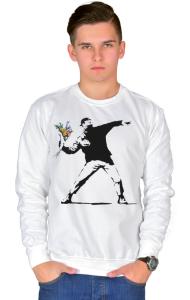 "Свитшот Бэнкси. ""Метатель цветов"" | Banksy. ""Flower Thrower"""