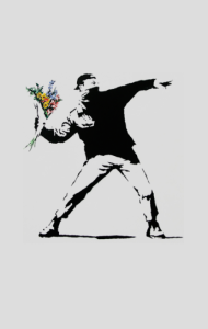 "Постер Бэнкси. ""Метатель цветов"" | Banksy. ""Flower Thrower"""