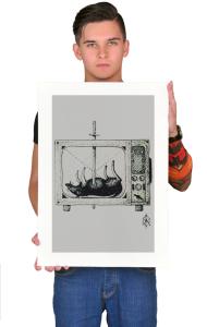 Постер Дотворк Крыса и ТВ    Dotwork Rat TV