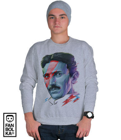 Свитшот Постер Никола Тесла. Боуи   Nikola Tesla. Bowie