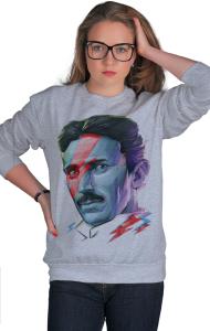 Свитшот Постер Никола Тесла. Боуи | Nikola Tesla. Bowie
