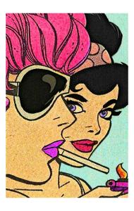 Постер Поп Арт девушки с сигаретой | Pop Art girl with a cigarette