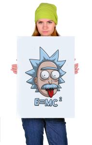 Постер Рик и Морти Эйнштейн   Rick and Morty Einstein