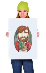 Постер Хипстер с елкой| Hipster with Christmas tree